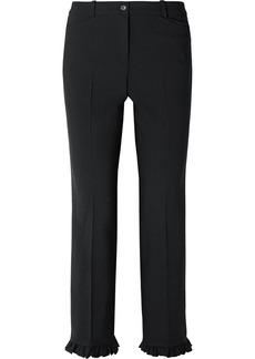 Michael Kors Ruffle-trimmed Wool-blend Crepe Straight-leg Pants