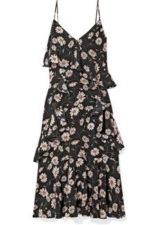 Michael Kors Ruffled Floral-print Silk Crepe De Chine Dress
