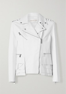 Michael Kors Ruffled Leather Biker Jacket