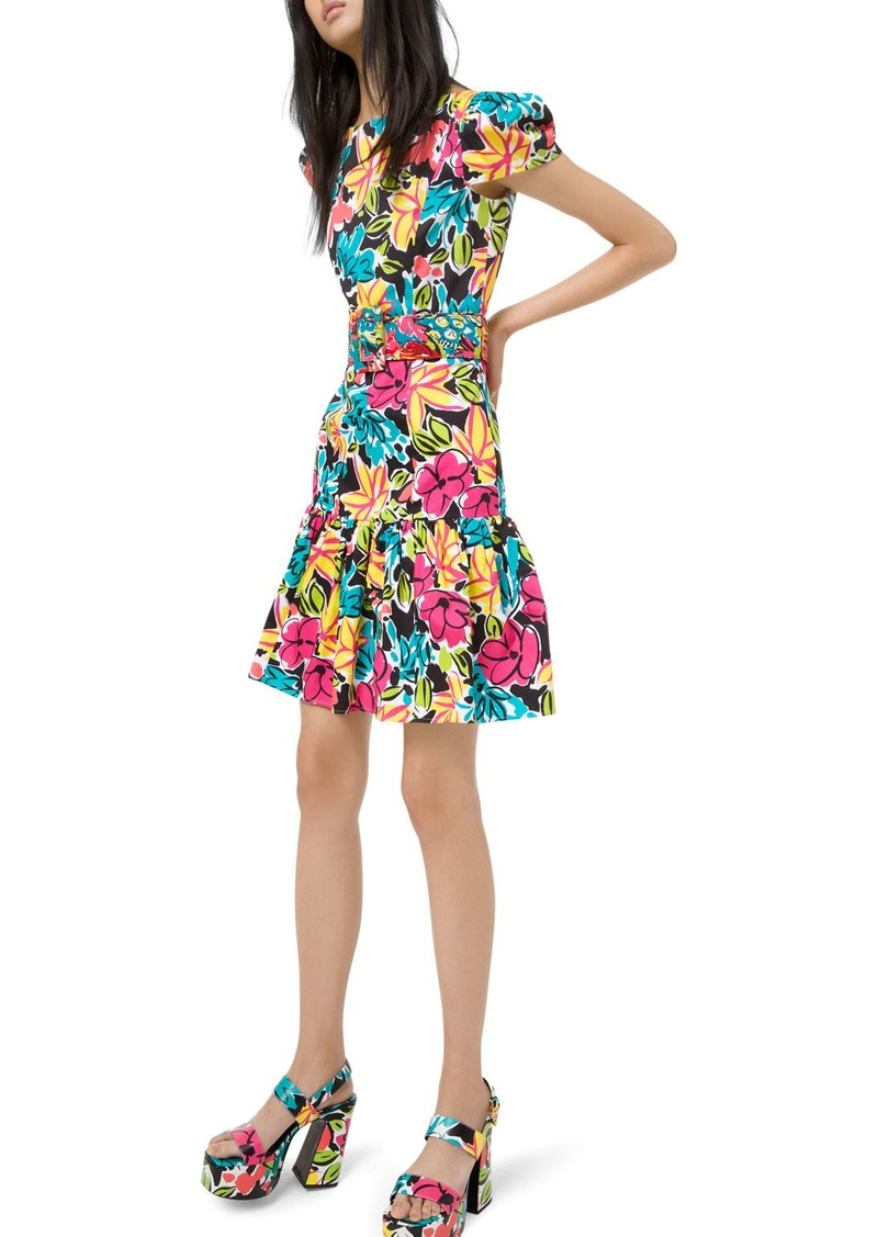Michael Kors Ruffled Modern Floral Sateen Dress