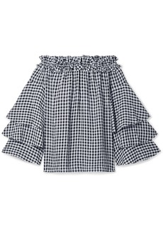 Michael Kors Ruffled Off-the-shoulder Gingham Georgette Top
