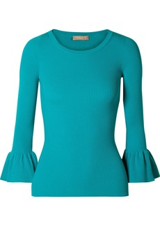 Michael Kors Ruffled Ribbed-knit Sweater