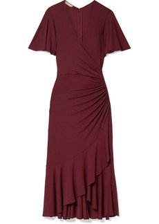 Michael Kors Ruffled Ruched Wrap-effect Jersey Midi Dress