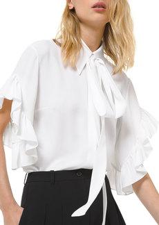 Michael Kors Ruffled-Sleeve Tie-Collar Shirt