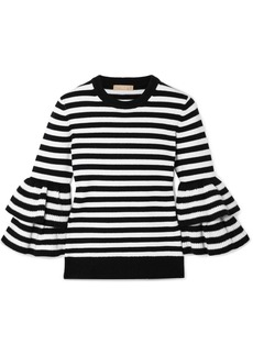 Michael Kors Ruffled Striped Cashmere-blend Sweater