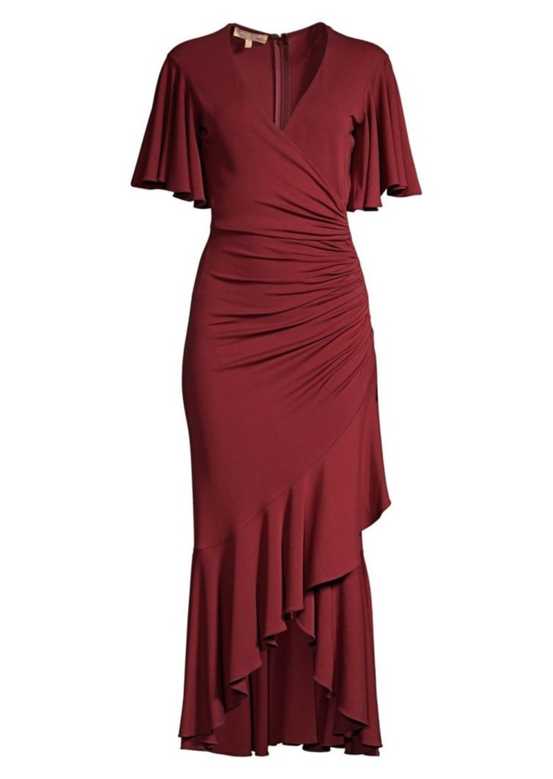 Michael Kors Ruffled Wrap Midi Dress