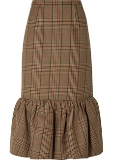 Michael Kors Rumba Fluted Plaid Wool Midi Skirt