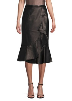 Michael Kors Rumba Leather Ruffle Pencil Skirt