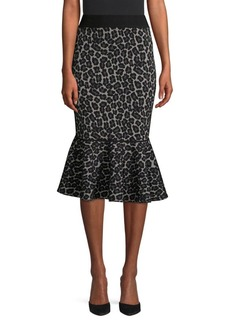 Michael Kors Rumba Leopard Print Fit-&-Flare Skirt