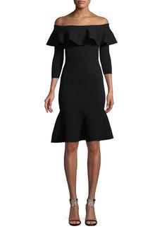 Michael Kors Rumba Off-the-Shoulder Ruffle Body-Con Knee-Length Dress