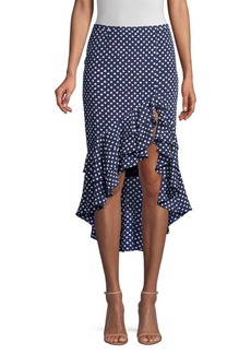 Michael Kors Rumba Polka-Dot Ruffle Skirt