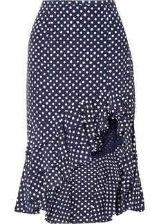 Michael Kors Rumba Ruffled Asymmetric Polka-dot Silk Crepe De Chine Skirt