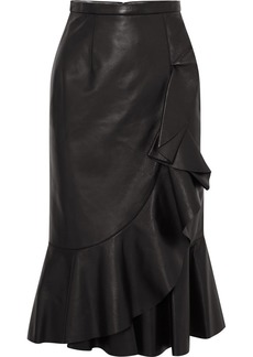 Michael Kors Rumba Wrap-effect Ruffled Leather Skirt