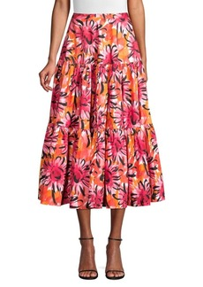 Michael Kors Runway Look One Tiered Floral Skirt