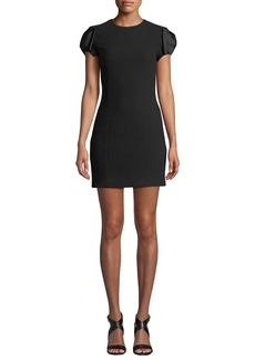 Michael Kors Satin Bow-Sleeve Boucle Crepe Mini Dress
