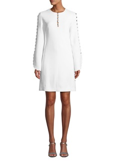 Michael Kors Scalloped-Sleeve Crepe Sable Shift Dress