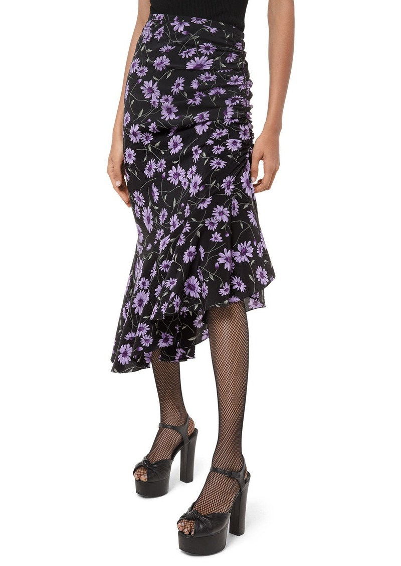 Michael Kors Scattered Daisy Crepe de Chine Gathered Skirt