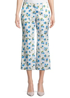Michael Kors Scattered Rose-Print Flared-Leg Duchess Satin Crop Pants