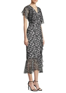 Michael Kors Scribble Print Draped Wrap Dress & Belt