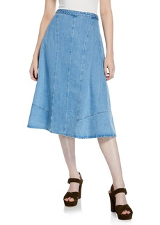 Michael Kors Seamed Denim Flare Skirt