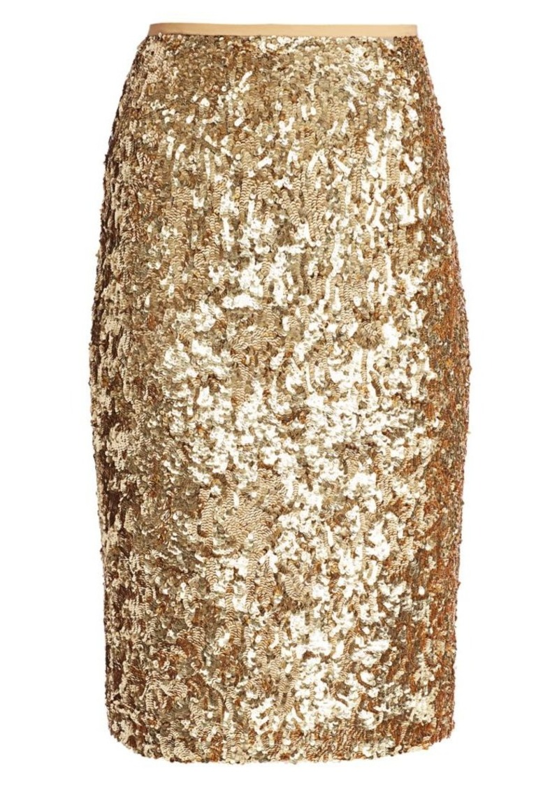 Michael Kors Sequin Embroidered Pencil Skirt