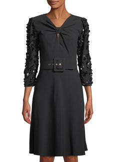 Michael Kors Sequin-Sleeve Knotted Crepe Dress