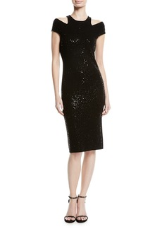 Sequined Cutout Sheath Dress