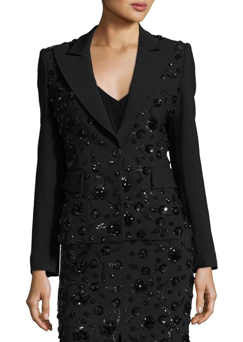 Michael Kors Sequined-Floral Dinner Jacket  Black