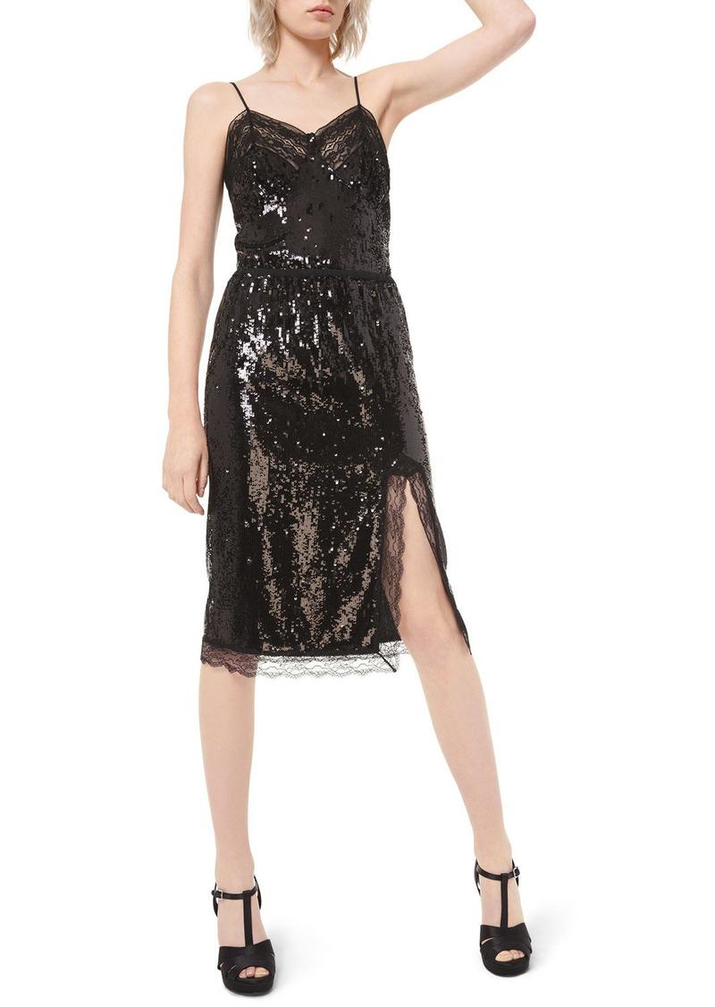 Michael Kors Sequined Lace-Trim Slip Skirt