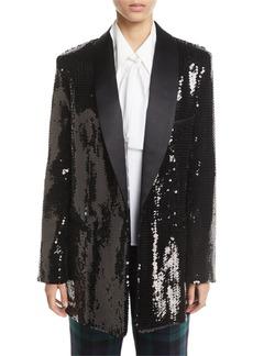 Michael Kors Sequined Long Boyfriend Blazer