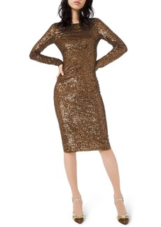 Michael Kors Sequined Long-Sleeve Bodycon Dress