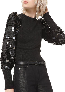 Michael Kors Sequined-Sleeve Sweater
