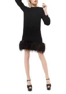 Michael Kors Ostrich Feather-Hem Cashmere Shaker Dress