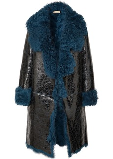 Michael Kors Shearling-lined Glossed Cracked-leather Coat
