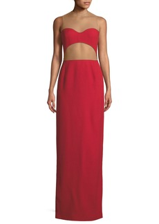Michael Kors Sheer-Back Cutout Column Gown