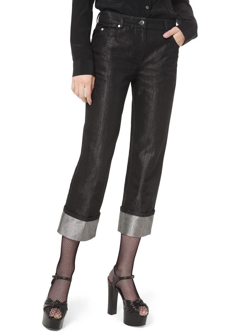 Michael Kors Shimmer-Cuff Straight-Leg Jeans