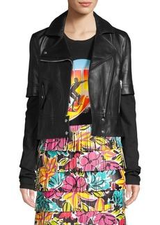 Michael Kors Short Sleeve Leather Moto Jacket