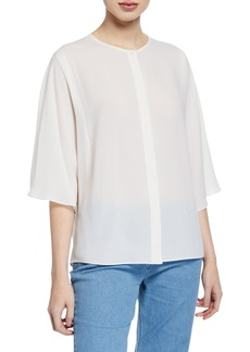 Michael Kors Short-Sleeve Silk Georgette Top