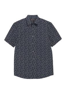 Michael Kors Short Sleeve Wave Print Classic Fit Shirt
