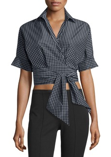 Michael Kors Short-Sleeve Windowpane Wrap Blouse