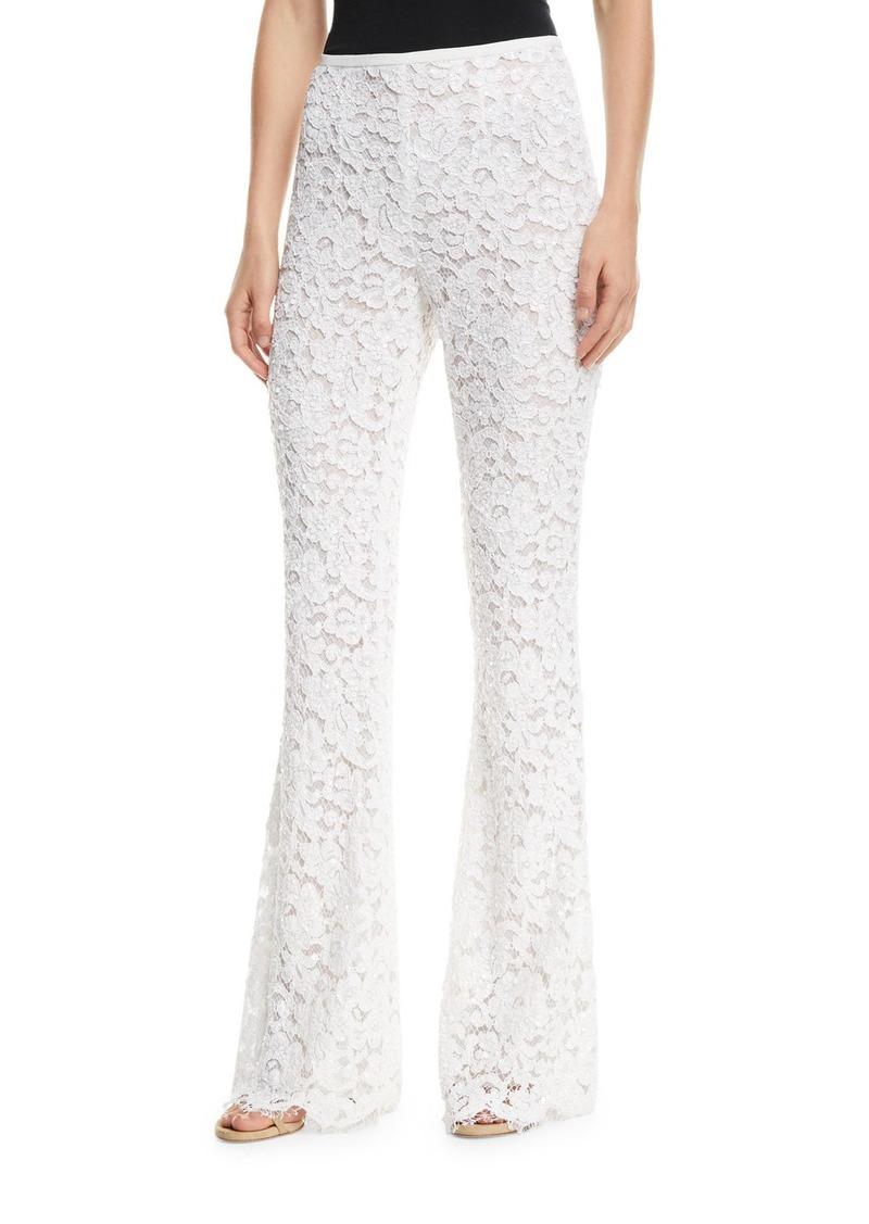 Michael Kors Side-Zip Flare-Leg Floral-Lace Pants
