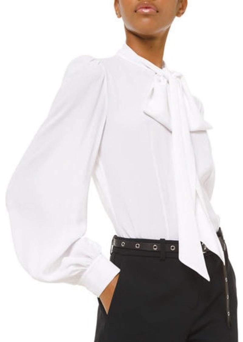 Michael Kors Silk Bowed Long-Sleeve Blouse