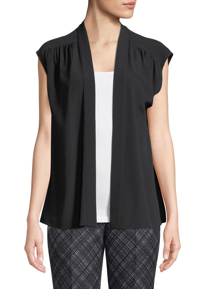 Michael Kors Silk Cap-Sleeve Wrap Blouse