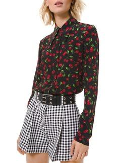 Michael Kors Silk Cherry Print Button-Down Shirt