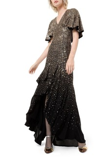 Michael Kors Silk Confetti Capelet-Sleeve Gown