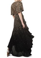 Michael Kors Silk Confetti Capelet-Sleeve Gown