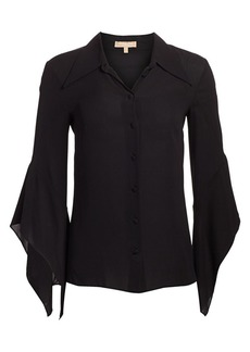 Michael Kors Silk Drape-Sleeve Blouse