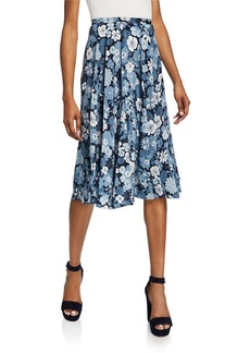 Michael Kors Silk Floral Pleated Dance Skirt