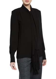 Michael Kors Silk Georgette Fringed Scarf Blouse