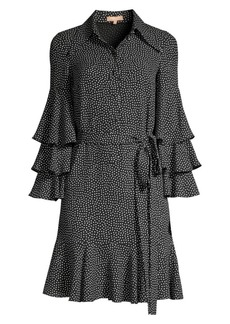 Michael Kors Silk Polka-Dot Tiered-Sleeve Shirtdress